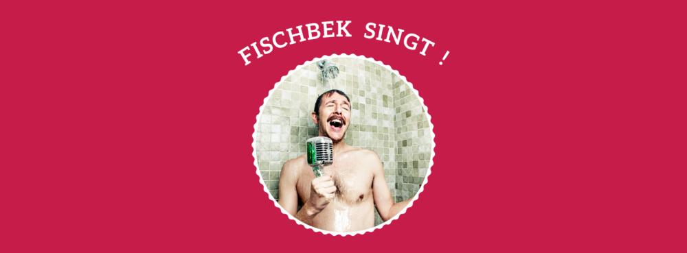 Ein singender Mann unter der Dusche