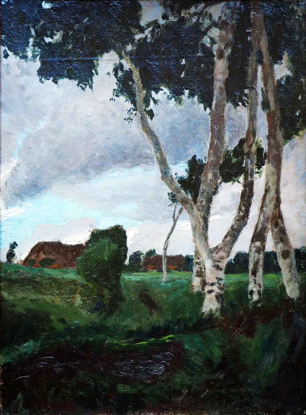 Ölgemälde von Fritz Overbeck (1869 - 1909), Stürmischer Tag im Teufelsmoor